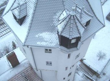 Turmdach von oben, filigrane Leistung unserer Dachdecker, antignum