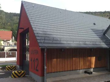 Projekte antignum - Neubau Fahrzeughalle Feuerwehrhaus Jena/Leutra