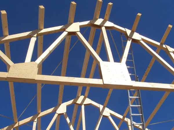 Holzkonstruktion Werkhalle, Detail